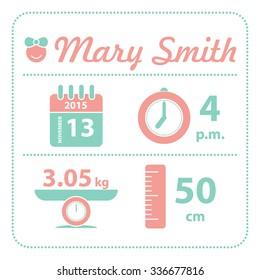 Baby girl announcement birth card, vector