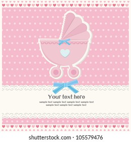 Baby girl arrival announcement card, scrapbook elements