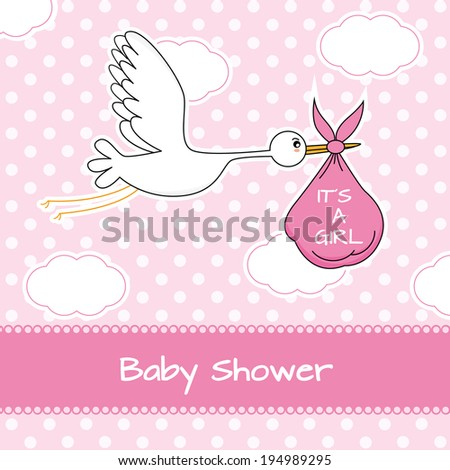 baby girl arrival announcement card stork stock vector royalty free