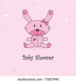 Baby girl arrival announcement. Stuffed rabbit