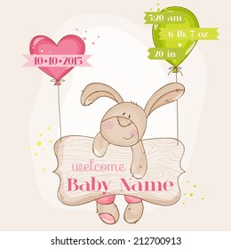 Baby Girl Arrival Card with Cute Bunny in vector