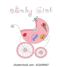 Baby girl arrival card with hand drawn retro styled baby carriage decorated with nature elements and handwritten words Baby Girl, vector illustration. May be used as invitation or greeting card.