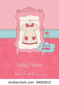 Baby Girl Arrival Card with place for your text in vector