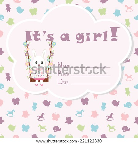 baby girl arrival card baby shower stock vector royalty free