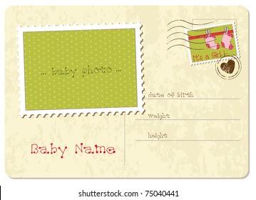 Baby Girl Arrival Postcard