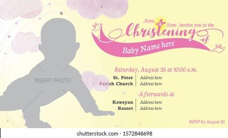 Baby Girl Baptism Invitation Card. Editable Christening Invitation Card. Elegant and formal design for baptism. Pink and yellow invitation card. Welcome to the Christian world.