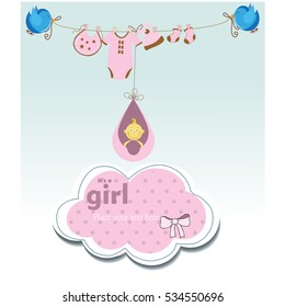 It's a baby girl, Birthday card with balloons, gifts, colerful, Vector