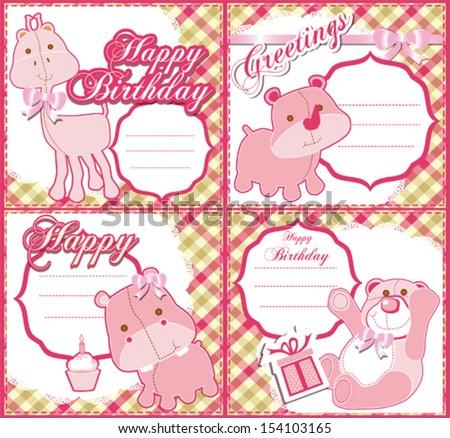 Baby girl birthday greeting card set stock vector royalty free baby girl birthday greeting card set m4hsunfo