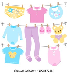 3bb026b4f Baby Clothes Hanging On Rope Stock Vectors