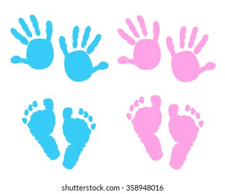Baby girl, baby boy hand and foot print vector