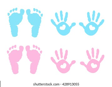 Baby girl and baby boy handprint and footprint illustration