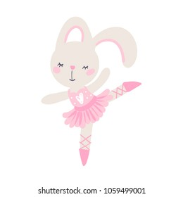 baby girl bunny ballerina, can be used as baby or kid t-shirt print, 5 colors