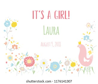 Baby girl card for the shower with flowers and bird, vector graphic illustration