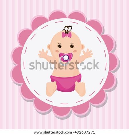 Baby Girl Cartoon Baby Shower Concept Stock Vector Royalty Free