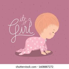 Baby girl design, Baby shower child newborn childhood kid innocence and little theme Vector illustration
