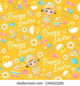 Baby girl in easter costume surrounding with easter colorful elements for Easter Card Template : Seamless Pattern : Vector Illustration