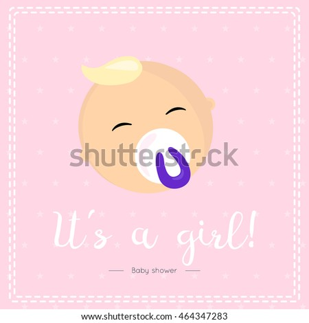 Baby Girl Greeting Card Design Baby Stock Vector Royalty Free