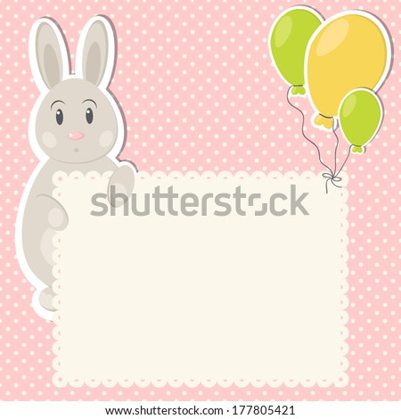 Baby Girl Greeting Card Template On Stock Vector Royalty Free