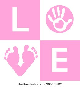 Baby girl baby hand and feet prints arrival card