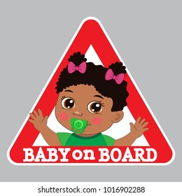 Baby Girl On Board Bumper Sticker Vector Illustration. Baby On Board Color Sign.