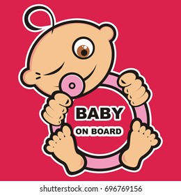 Baby girl on board, vector icon, banner