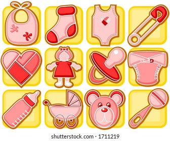 Baby girl related items in icon style