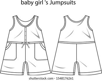 baby girl 's  Jumpsuits vector