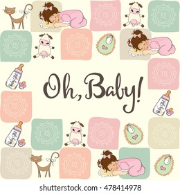 baby girl shower card with animals, vector format