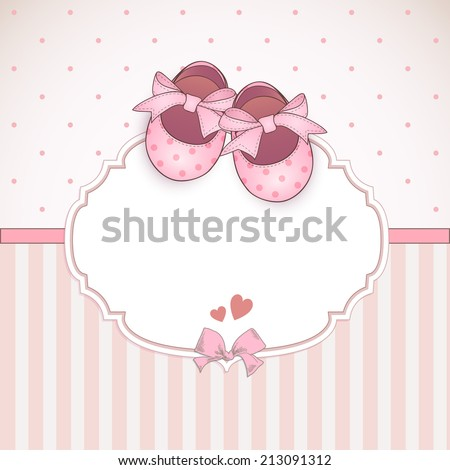 baby girl shower card arrival card stock vector royalty free