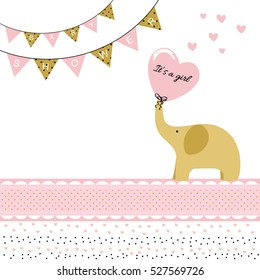 Baby girl shower card with elephant