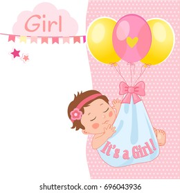 """Baby Girl Shower Card Vector Illustration. """"It's A Girl"""". Kids Invitation Card Design With Little Sleep Baby Girl And Balloon."""