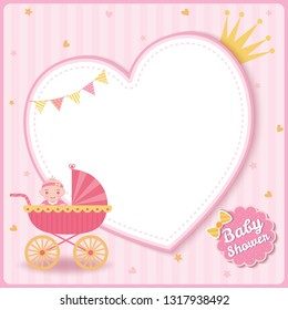Baby girl shower greeting card for new born girls decorated with baby stroller on pink heart frame background.
