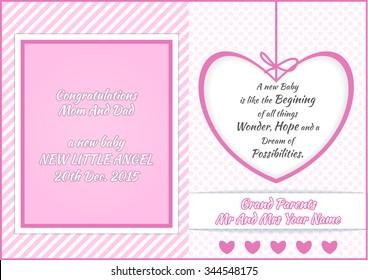 Baby Girl Shower Greeting Card Vector Illustration Design