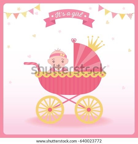 Baby girl shower greeting card new stock vector royalty free baby girl shower greeting card for new born girls decorated with princess baby carriage and crown m4hsunfo