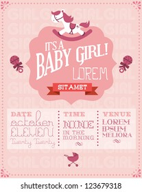 baby girl baby shower invitation card template vector/illustration