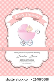 baby girl baby shower invitation card. Vector eps10,illustration.