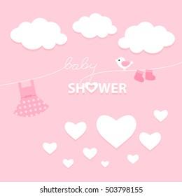 Baby Girl Shower Invitation Card Design. Vector illustration. For girls. Pink.