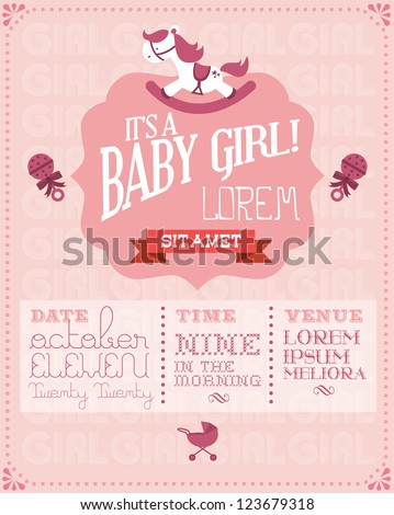 Baby girl baby shower invitation card stock vector royalty free baby girl baby shower invitation card template vectorillustration filmwisefo