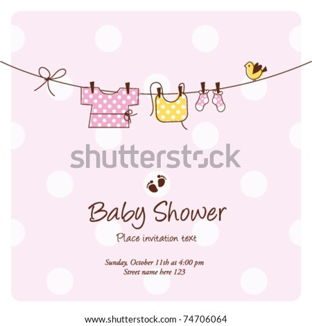 baby girl shower invitation card baby stock vector royalty free