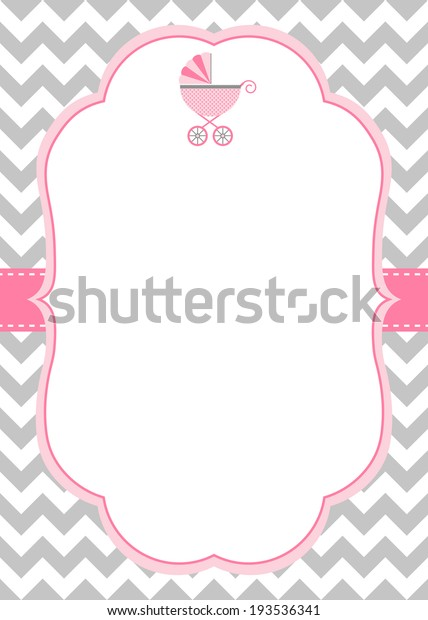 Baby Girl Shower Invitation Template Baby Stock Vector