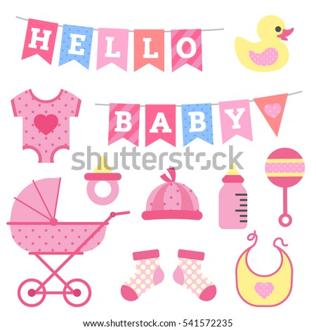 Baby Girl Shower Object Clip Art Stock Vector Royalty Free
