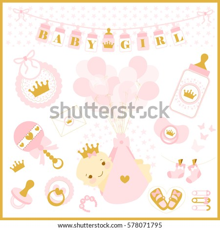 Baby Girl Shower Party Vector Set Stock Vector Royalty Free