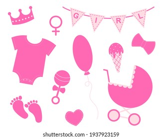 Baby girl shower set. Elements for greeting cards and invitations. Pink bunting with text Girl, crown, bodysuit, bib, footprint, pram, rattle, bow, balloon, ice cream, heart. Vector flat illustration.