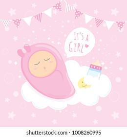 Baby Girl Shower sleeping on clouds, Happy Birthday for new born celebration greeting and invitation Post card Size