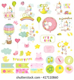 Baby Girl Unicorn Scrapbook Set. Vector Scrapbooking. Decorative Elements. Tags. Labels. Stickers. Notes.