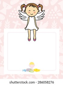 Baby girl with wings. blank space for photo or text