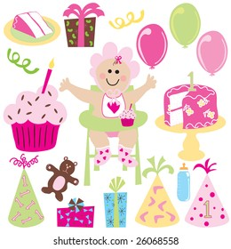 Baby Girl's first birthday with balloons, birthday cake, cupcake, gifts and party hats done in a retro style