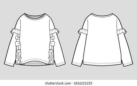 Baby Girl's Ruffle Detail Sweatshirt Fashion Flats.