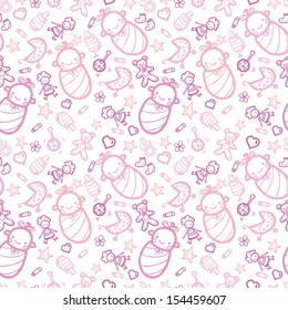 Baby girls seamless pattern background