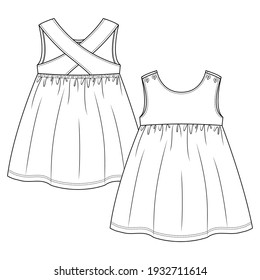 Baby Girls sleeveless dress fashion flat sketch template. Girls Kids Top Technical Fashion Illustration. Strap crossing over at back